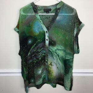 Forever 21+ plus space galaxy print button up top
